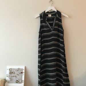 Anthropologie collar sleeveless maxi dress strip